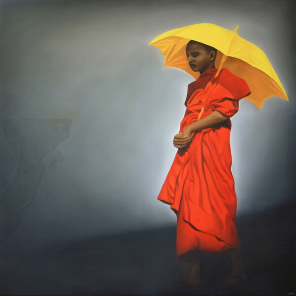 """Saffron Monk"" oil on canvas, 1300 x 1300mm, 2005"