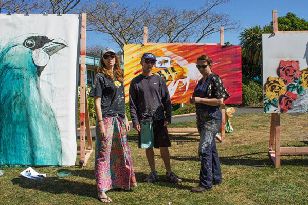 Artists Sofia Minson, Geoff Noble and Miriam Hansen with their artworks