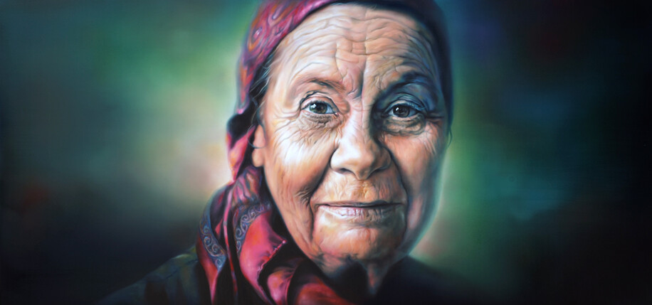 """Dame Joan Metge"" by Sofia Minson. 850 x 1800mm. Oil on canvas. Original sold to the New Zealand Portrait Gallery collection."