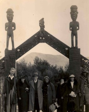 Old photograph of Sofia Minson's grandparents at a marae - Maori meeting house