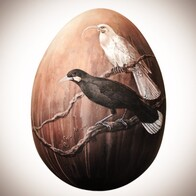 """Huia"" Painted Egg Sculpture"